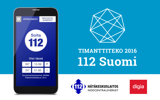 The 112 Suomi application wins the 2016 Timanttiteko award